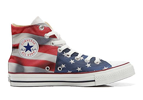Converse All Star Customized - Zapatos Personalizados (Producto Artesano) USA England Japan Size 39 EU