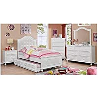Walter Kids Leather PU Platform 4 Piece Twin Bed, 1 Nightstand, Dresser, Mirror - White Wood