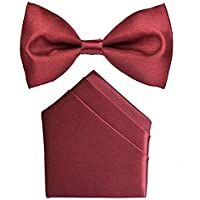 Dixit sons Maroon Bow Tie And Pocket Square For Men