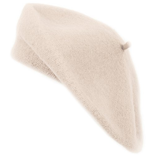Ladies Solid Colored French Wool Beret (Beige)
