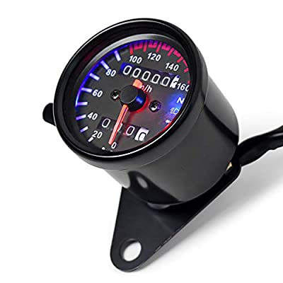DKMOTORK 0021 Motorcycle Speedometer Dual Odometer Gauge with Led Backlight Neutral Headlight Turn Signal Indicator Stainless 2.56 Inches 12V Universal Black: Automotive