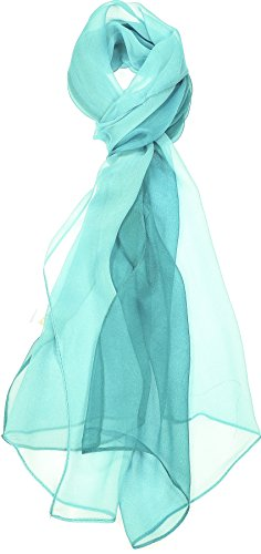 Hand By Hand Aprileo Two-Tone Silk Blend Scarf Ombre Oblong Scarf Lightweight [09 Teal](One Size)