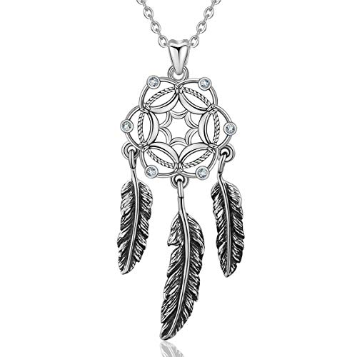 Women Necklace, Dreamcatcher 925 Sterling Silver Pendant Necklaces-Follow Your Dream, Birthday Anniversary Gift For Herer