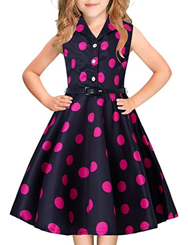 (Big Girl's Polka Dots Pageant Dress Beautiful 3D Print Red Pink Bold Dots 80s 90s Young Teens Girl Collar Button Up Sleeveless Ruffles Lace Black Frocks Casual for Dance Festival Party Size 10T 11T)