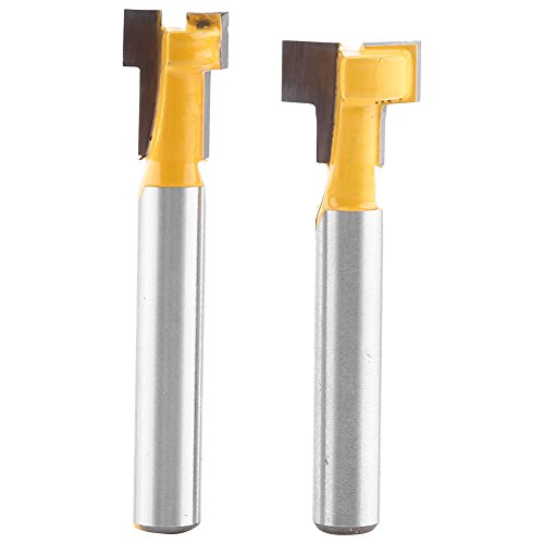 2Pcs 1/4'' Shank Steel Handle T-Slot Cutter, 3/8'' & 1/2'' Woodworking Router Bit by walfront