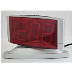 Sharp SPC033D Red LED Alarm Clock with Swivel Case (Silver)