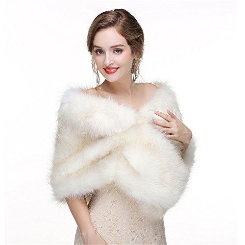 LiCheng Bridal Women Faux Fox Fur Wraps Shawls Stoles Cape Shrug for Wedding Evening Party Dresses Cream