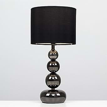 MiniSun - Lámpara de mesa táctil y moderna, con base de columna de esferas - cromo negro y pantalla negra estilo seda