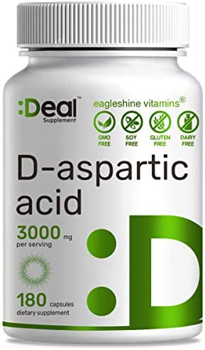 Deal Supplement D-Aspartic Acid DAA,3000mg Per Serving, 180 Capsules, Ultra Strength Testosterone Booster, Non-GMO Gluten Free, Made in USA