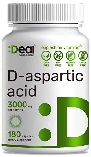 Deal Supplement D-Aspartic Acid DAA,3000mg Per Serving, 180 Capsules, Ultra Strength Testosterone Booster, Non-GMO & Gluten Free, Made in USA