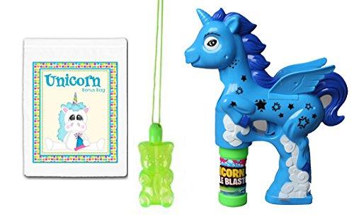 Blue Unicorn Light & Sound Toy Bubble Blaster Gun & Gummy Bear Bubbles Necklace Bundle Pack ()