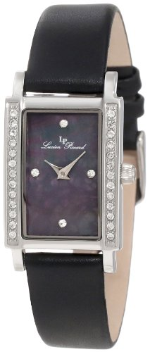 Lucien Piccard Women's 11673-01MOP Monte Baldo Crystal Accented Black Patterned Mother-Of-Pearl Dial Black Leather Watch