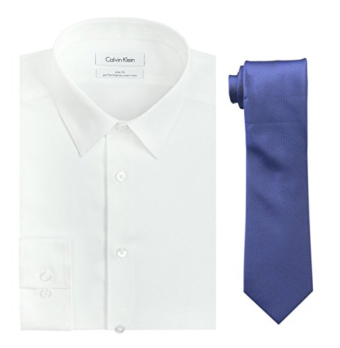 Iron Cobalt - Calvin Klein Men's Slim Fit Herringbone Dress Shirt and Silver Spun Tie Combo, White/Cobalt, 15
