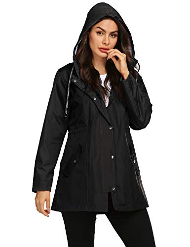 Women All Weather Jacket Long Trench Coats for Women Zip Up Rain Jacket Quick-Drying Womens Raincoat Black M