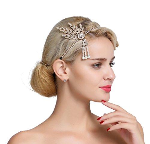 FAIRY COUPLE 1920s Gatsby Wedding Crystal Imitation Pearl Leaf Headband -