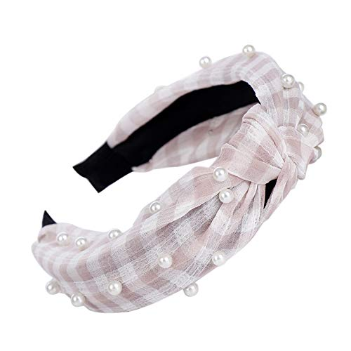lightclub Summer Stripe Plaid Stripe Faux Pearl Women Girl Knotted Tie Hair Hoop Band Wide band Headband Headwear Gift Pink