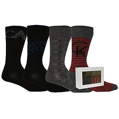 Calvin Klein 4-Pack Multi-logo Men's Socks Gift Box, Black/Charcoal/Red