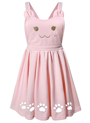 Futurino Womens Ajustable Suspender Cat Embroidery Cute Paw Hollow Out Lolita Overall Dress With Pockets
