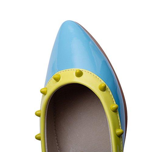Oberteil AdeeSu Blau Zehenspitze Lacklederpumps Cut Schuhe spitze Low Wedges Womens xfWwPqF
