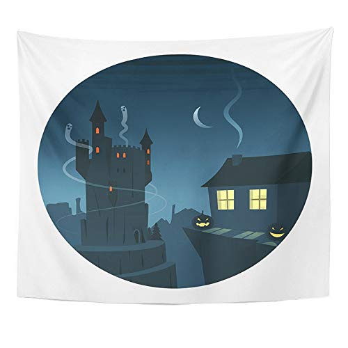 Emvency Tapestry Mandala 50x60 inch Home Decor Castle Mysterious and Spooky Night Scene Round Circle Cliff Cozy Enchanted Fireplace for Bedroom Living Room Dorm by Emvency
