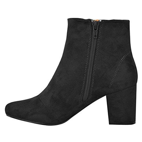 Mode Törstiga Kvinnor Låg Blockera Klack Chelsea Boots Klippa Ut Snörning Skor Storlek Svart Faux Mocka