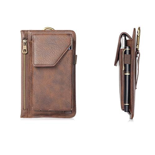 Vertical Leather Belt Clip Holster Cell Phone Pouch with Belt Loop Zipper Money Pocket Wallet Case for iPhone Xr 8 Plus…