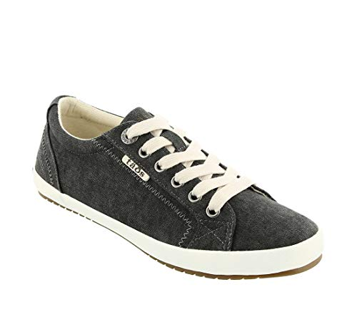 Taos Footwear Women's Star Charcoal Wash Canvas Sneaker 9.5 M US (Best Casual Shoes To Wear With Skinny Jeans)