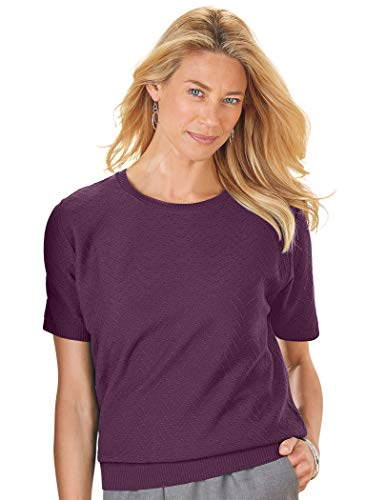 Alfred Dunner Textured Sweater Petite Amethyst
