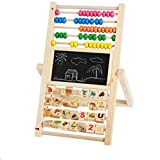 4 in1 Educational Kids Easel Double-Sided Adjustable Chalk Drawing Blackboard & White Dry Erase Surface with Calculation Beads & Cognitive Toy for Kid/Baby/Infant/Toddler to Learn & Play