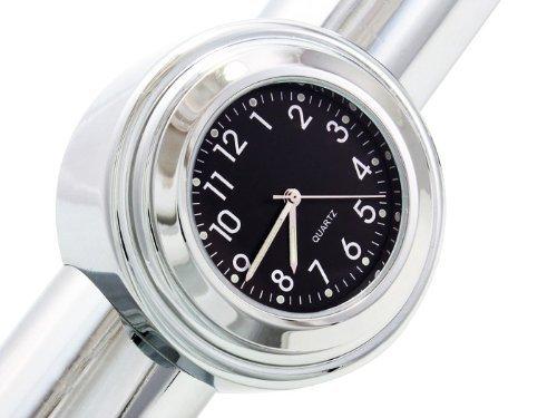 DLLL Universal Waterproof Motorcycle Motorbike Chrome Black Dial Handlebar Mount Clock Watch Fit 7/8'' 1'' for Cruiser Chopper Bobber Softail Yamaha Harley Davidsons,Suzuki,Honda,Kawasaki Cruisers
