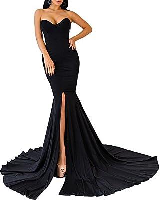 Womens Strapless Asymmetric Slit Front Evening Party Wedding Maxi Dress
