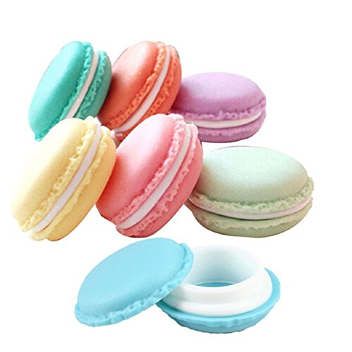 Pack of 6 Colorful Mini Macaron Shaped Lip Balm, Gloss, Storage Box Pill Box Candy Jewelry Organizer Pill Case Containers, By Grand Parfums US Seller Ships from US