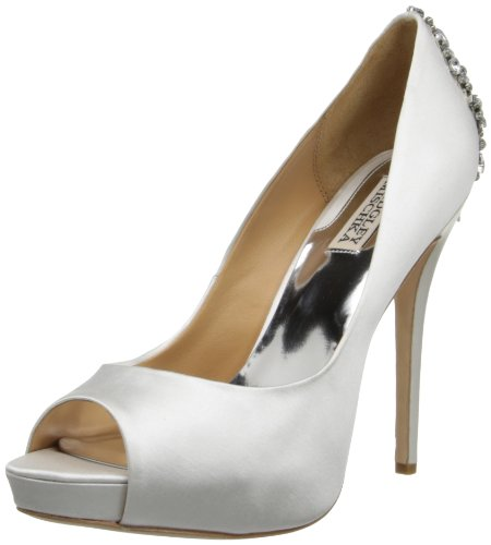 Badgley Mischka Women's Kiara Platform Pump,White,5.5 M US Dyeable Satin Wedding Platform Shoes