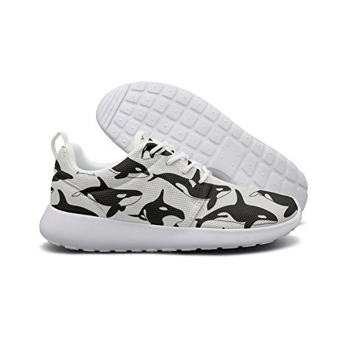 (Saerg Bearry Women's Black and White Orca Whales Lightweight Mesh Running Shoes Print Sneakers)