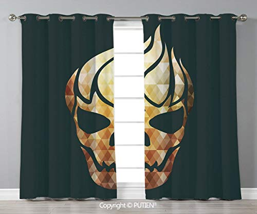Grommet Blackout Window Curtains Drapes [ Modern,Gothic Skull with Fractal Effects in Fire Evil Halloween Concept,Yellow Light Caramel Dark Grey ] for Living Room Bedroom Dorm Room Classroom Kitchen C