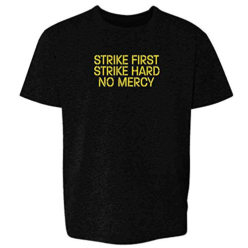 Strike First Hard No Mercy Cobra Kai Karate Kid Black 2T Toddler Kids T-Shirt]()
