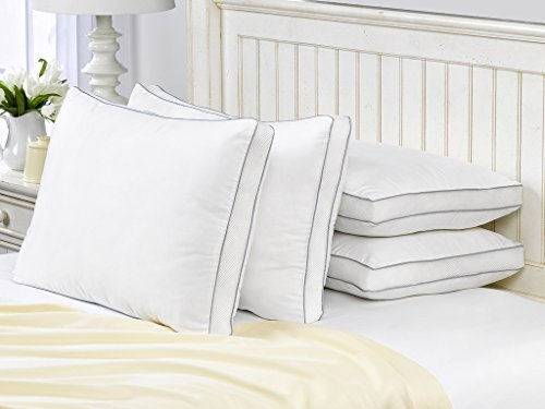 4 Pack French Country Hypoallergenic Down Alternative Mesh Gusseted Pillow / Standard Size by Pillow Guy