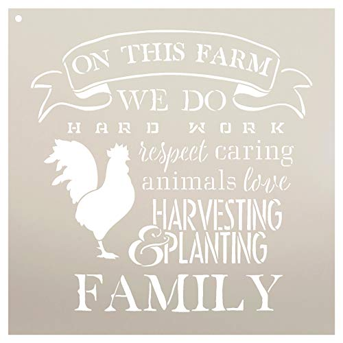- On This Farm Chicken Stencil by StudioR12 | Hard Work Respect Ampersand Harvest Plant Love | Reusable Mylar Template Paint Wood Sign | Craft Rustic Country Home Decor DIY Family Farmhouse Select Size