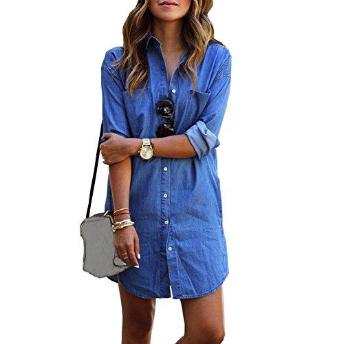Dress Denim Chambray - Women Long Sleeve Loose Button Down Chambray Denim Shirt Blouse Mini Dress Tops