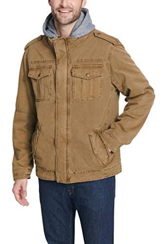 Levi's Men's Washed Cotton Military Jacket with Removable Hood (Standard and Big & Tall)