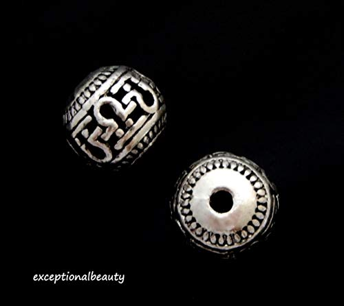 10 Antiqued Tibetan Silver 10mm Round Aztec Key Hole Design Spacer Metal Beads