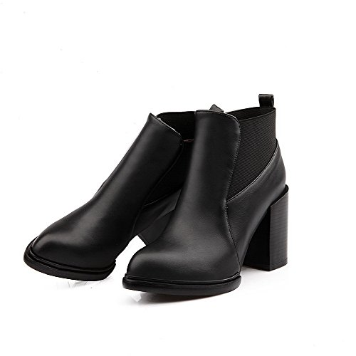 Round Boots Heels Women's Black AgooLar high Material Toe Ankle Closed High Soft Solid 5TFUqPX
