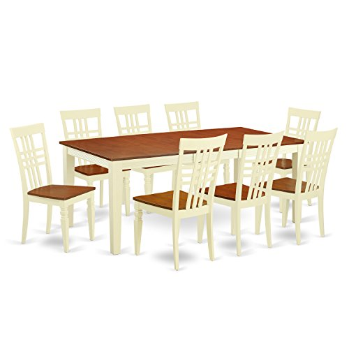East West Furniture QULG9-BMK-W 9Piece Dining Table Set with One Quincy Dining Room Table & 8 Dining Room Chairs in Buttermilk & Cherry Finish