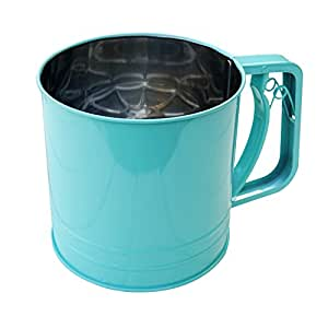 A.B Crew Stainless Steel Flour Sifter with Triple Mesh Screen Manual Powder Strainer, Green