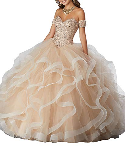 Beaded Bella Skirt (Yisha Bello Women's Off The Shoulder Crystal Beaded Organza Ruffles Prom Ball Gowns Sweetheart Quinceanera Dresses 6 Champagne)