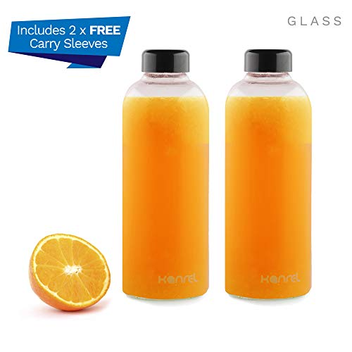 Juicing Glass Bottles 32oz with air Tight lids/caps (2 x Clear Bottle & Sleeve) Refillable Portable Storage Container for Orange, Apple, Kombucha, Tea, Fresh Organic, Juicing Grape Fruit, Coconut