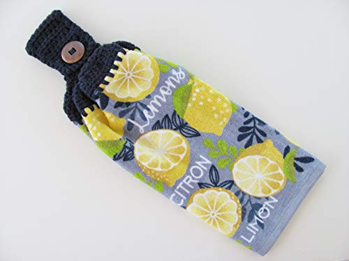 (Handmade Crocheted Navy Blue Top Hanging Kitchen Towel)