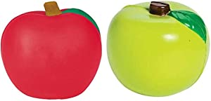 12 Pack -Fall Themed Apple Stress and Squeeze Toy Balls (6 RED, 6 Green Apples)