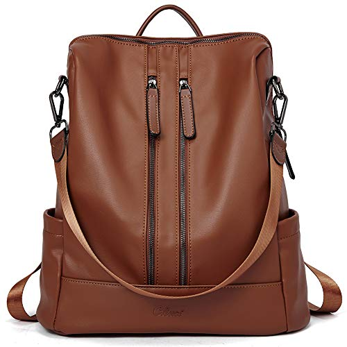 Women Backpack Purse Leather Fashion Travel Large Casual Covertible Ladies Shoulder Bag Dark Brown