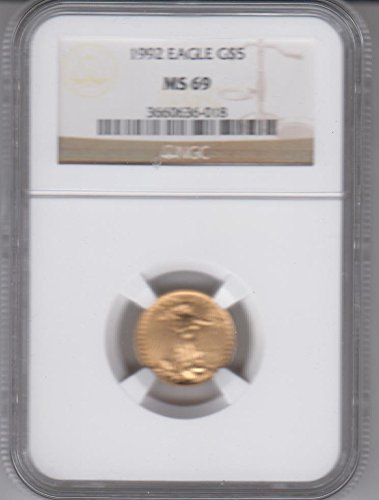1992 American Gold Eagle 1/10 Ounce Gold Coin Graded and Certified $5 MS69 NGC